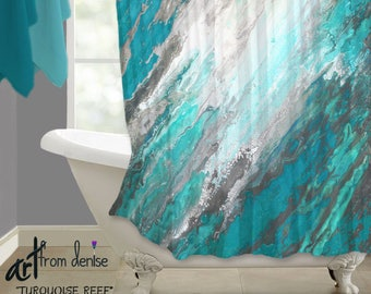 Grey And Red Shower Curtain M Style Full Bloom shower Curtain