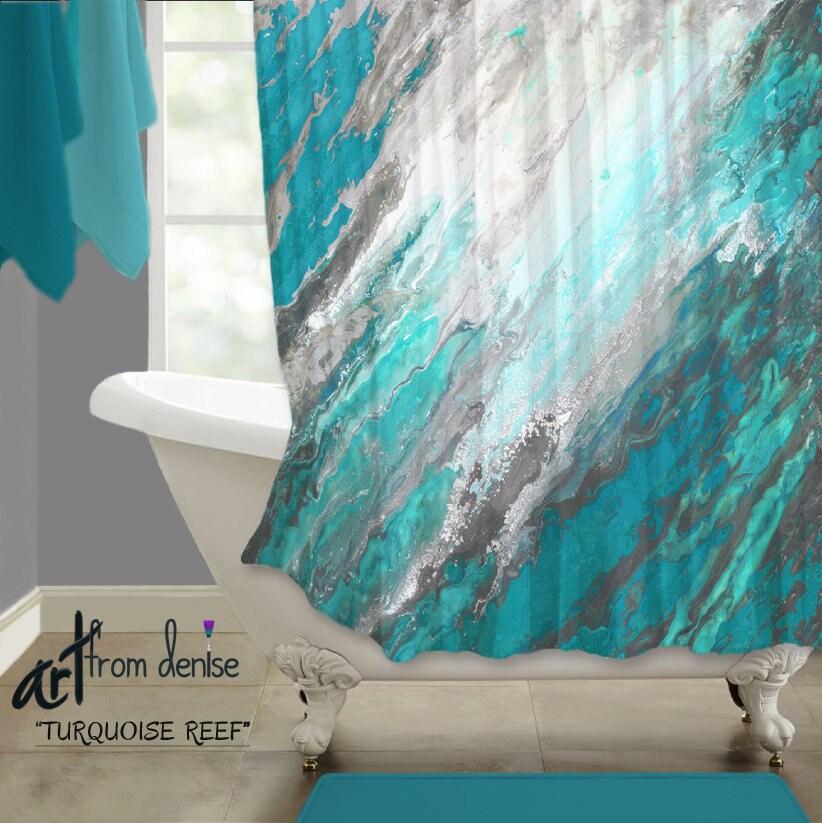 wonderful turquoise gray bathroom ideas | Turquoise gray shower curtain Abstract art Teal blue Bath