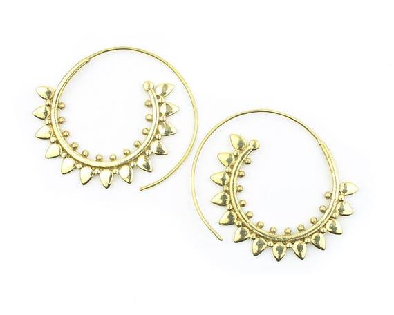 Golden Flower Earrings, Bras Earrings, Spiral, Boho, Bohemian, Tribal, Festival Jewelry, Gypsy, Hippie, Ethnic, Statement Piece