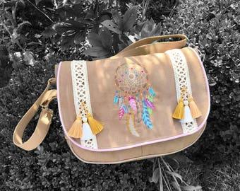 """Hobo boho """"Dreamcatcher"""" embroidered in brown suede with pockets - shoulder bag - wallet - boho bag - bag bohemian Bag"""