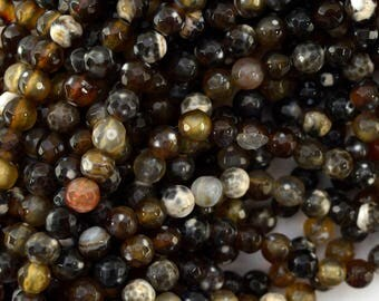 """6mm faceted brown crab fire agate round beads 15.5"""" strand 39440"""