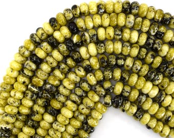 "10mm yellow turquoise rondelle beads 15.5"" strand 39376"