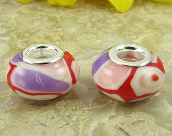 2 sterling silver lampwork glass beads fit 0231 14478