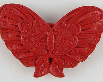 60mm red cinnabar carved butterfly pendant bead 9699