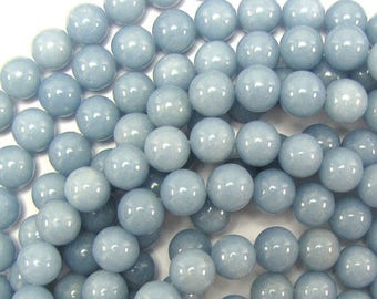 "8mm blue angelite round beads 16"" strand 31422"
