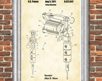 Tattooing Machine Poster, Tattoo Machine Patent, Tattoo Poster, Tattoo Gun Print, Tattoo Machine Art, Tattoo Art, Tattoo Parlor Art P264