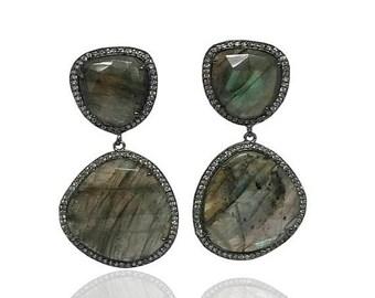 15% off ON SALE Labradorite earrings - Gemstone earrings - Dangle and drop earring - Large Gemstone Earrings - Bridesmaid earring - Bezel se