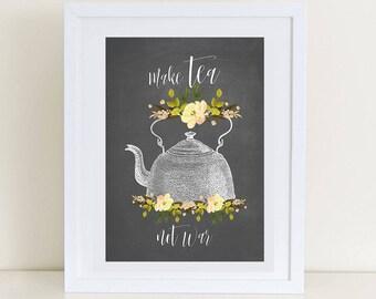 Tea Time Art Print, Kitchen Art Print, Tea Art, Tea Print, Digital Download, Digital Art Print, Kitchen Poster, Wall Art Prints Tea Decor