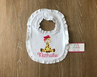 Giraffe Bib for Girl or Boys /  Baby Giraffe gift / Design available Shirts and Onesies