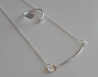 Set of Choker and Silver Ring cocktail spoon. Silver set for lovers of cocktail. Jewelery Barman.Set silver.Original gift barman