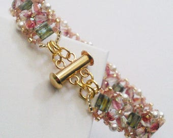 Autumn Colored Bracelet with Swarovski Pearls, Japanese Miyuki Tilas, and Preciosa crystals