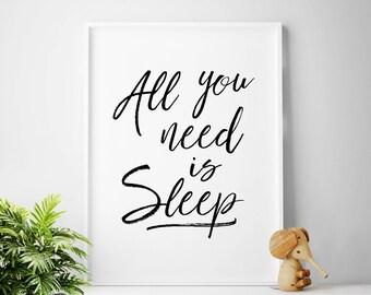 Bedroom Wall Art, All You Need Is Sleep, Nap Queen, Bed, Bedroom