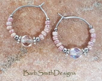 """Beaded Pink Crystal and Silver Stainless Steel Hoop Earrings, Small 3/4"""" Diameter in Tea Rose"""