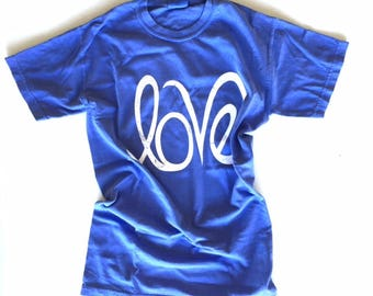 Periwinkle Blue Youth Love T Shirt | Kids Comfort Colors Tee Size Medium