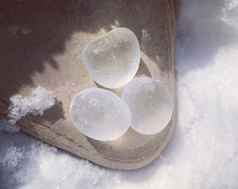 Seaham Pure White Sea Glass Bubbles. Set of 3. Guaranteed Authentic. Free UK Delivery.