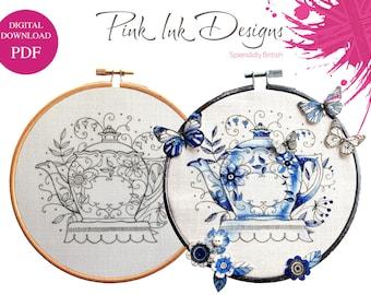 Teapot pdf pattern, embroidery.