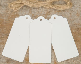 Set of 50 White Tags and Twine, Scalloped Tags, Craft Scalloped Tags