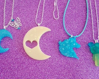 Handmade resin pendant necklaces