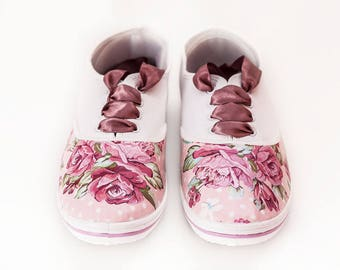 "Ladies Sneakers with Decoupage ""Soft Roses"",Decoupage Sneakers, Custom Shoes, Casual, Flowers, Vintage Style"