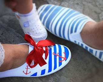 Hand Painted Ladies' Sneakers, Sea Shoes with Red Satin Ribbon, Maritime Motifs,Summer Sneakers, Birthday Party,