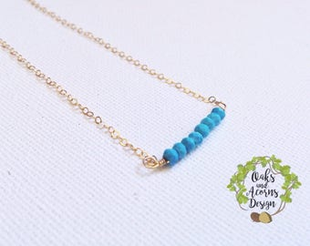 Turquoise necklace - gold turquoise necklace - 14k gold filled - dainty necklace - December birthstone necklace - birthstone bar necklace