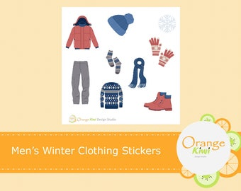 Men's Winter Clothing Stickers, Winter Stickers, Scrapbooking, Vacation Stickers, Planner Stickers