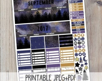 September monthly printable planner stickers for your Erin Condren LifePlannerTM watercolor starry night galaxy night sky monthly stickers