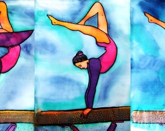 Ballerina - painting on silk by Ausra Dajore, abstract art, modern art, mixed art
