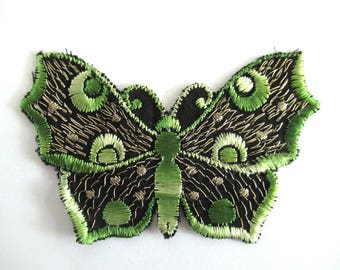 Butterfly applique, 1930s vintage embroidered applique. Vintage patch, sewing supply. Green Applique, Crazy quilt #6A8G43KB