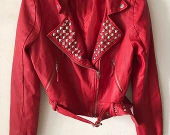 Motorcycle jacket from faux leather soft leather stylish jacket steep jacket modern jacket short jacket vintage red women's has size-medium.