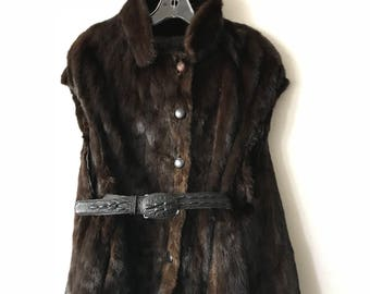 Magnificent Vintage Genuine Mink Soft Fur Vest Warm With Leather Belt Women's Brown Size Medium.