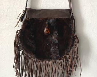 Brown hand made mink fur bag