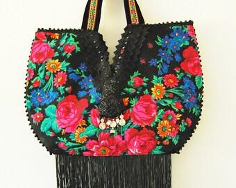 Boho Bag fringe flowers folk