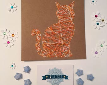Threaded ginger and white cat card