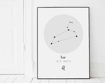 Leo Constellation Print - Zodiac Constellation - Star Sign - Birthday Gift