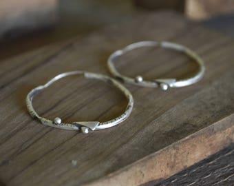 Hoop earrings-Oxidised hoop earrings-Sterling silver-Hand sculpted-Jewelry