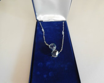 Vintage Gorham Sterling Silver Chain with Prism Crystal Balls 18 Inches