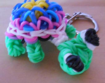 Rainbow loom Turtle Island keychain