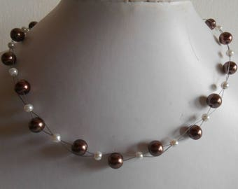 Bridal twist beads Brown and white