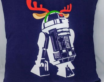 R2-D2 Christmas Pillow Cover - 12x12 - Star Wars Christmas - Reindeer - OOAK - Ready to Ship