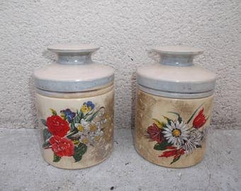 jars in opaline old - old french shabby chic pots in opaline, décor Pearly with flowers - old kitchen jars
