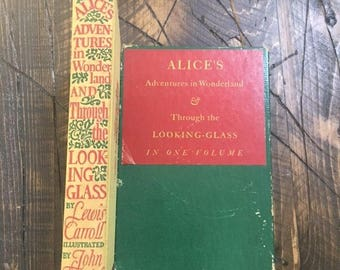 VTG 1941 Alice In Wonderland Through The Looking Glass Hardcover Book with Slipcover Lewis Carroll JohnTenniel