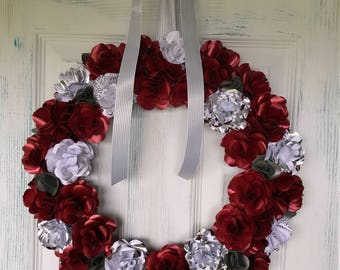Christmas Paper Rose Wreath