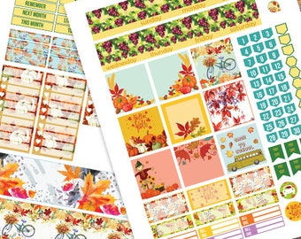 September Monthly Kit planner stickers Printable,HAPPY PLANNER STICKERS,Septembe Monthly Kit,Autumn fruits Planner Stickers Instant Download