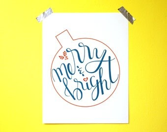 Calligraphy Wall Art - Christmas Wall Art - Holiday Wall Art - Merry & Bright - PDF instant download