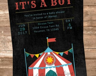 Circus / Carnival Boy Personalized Baby Shower Invitation