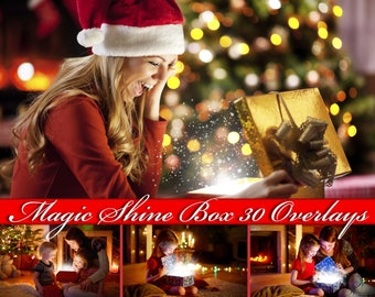 30 Magic Shine Box Overlays Photoshop Magic Shine Clip Art Magic Shine Overlay Magic Shine Photo Overlays Magic Shine PNG Christmas Overlays