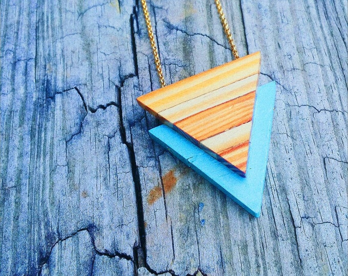 Featured listing image: Necklace - Statement -  Reclaimed Wood - Stainless Steel - ART DECO