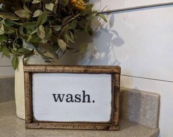 "Framed Wooden ""wash."" sign/Wash Sign/Farmhouse Sign/Rustic Sign/Wash."