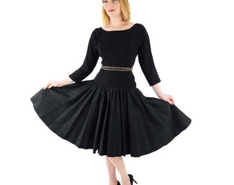 50s Black Embroidered Swing Dress-1950s Party Dress-50's Cocktail Dress-Fit and Flared-New Look-Pinup-Rockabilly-Nipped Waist-S-M